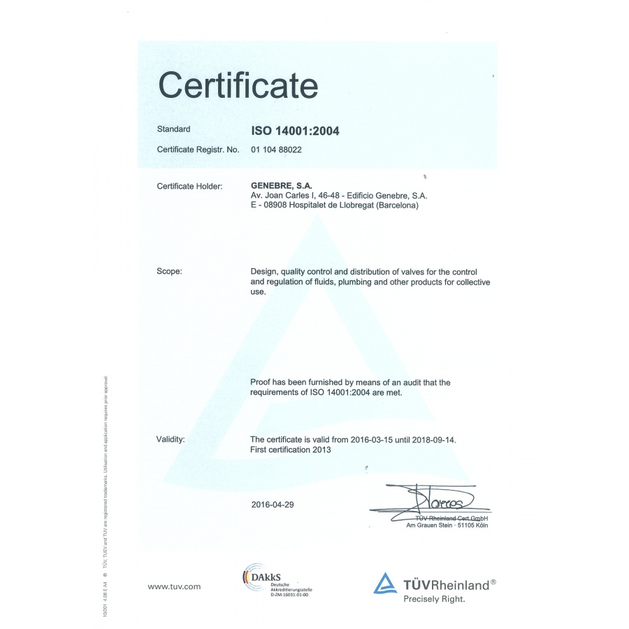 Genebre quality certification iso 14001 certification xflitez Gallery